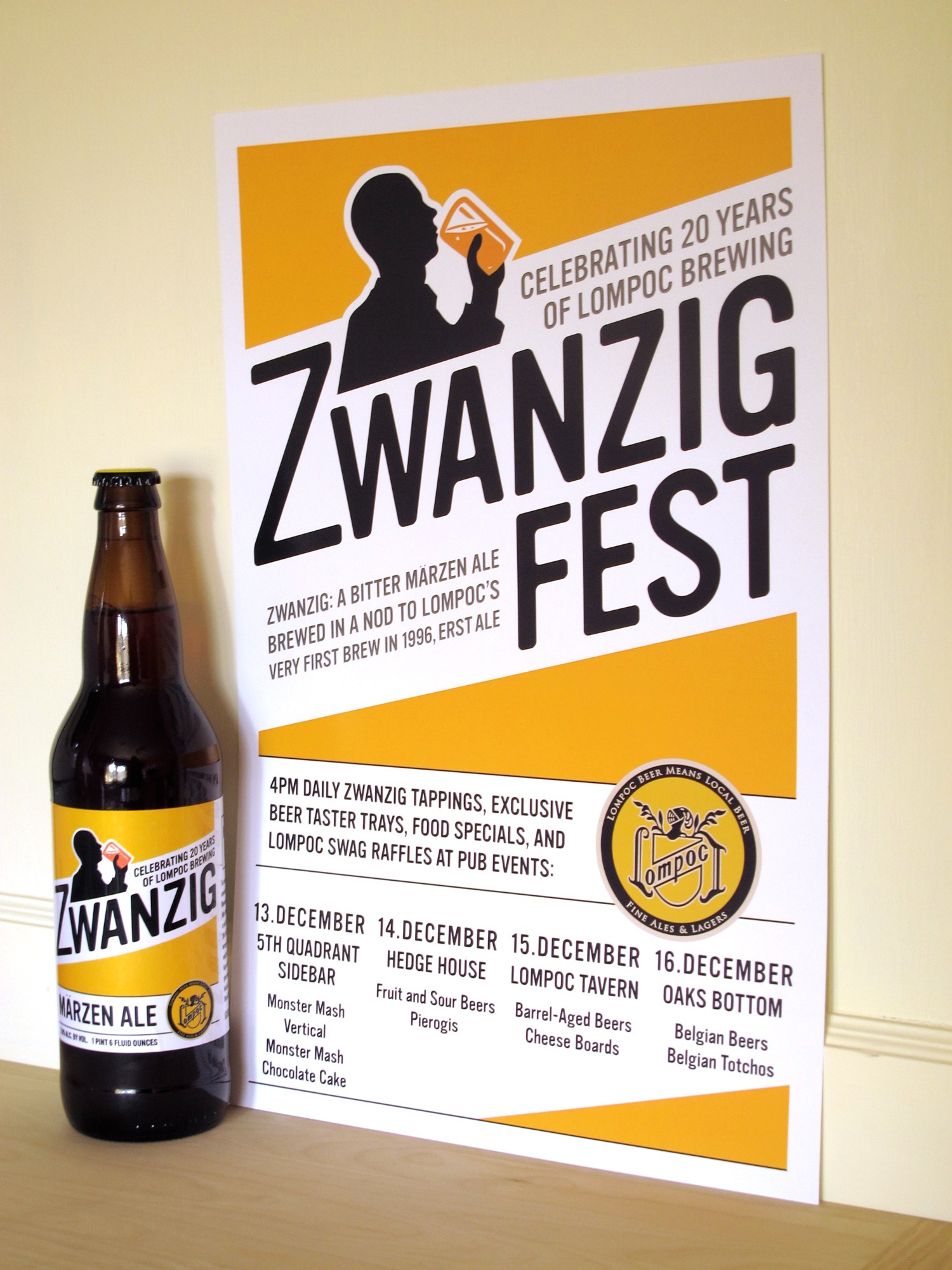 Lompoc Brewing Zwanzig Fest Poster and Label