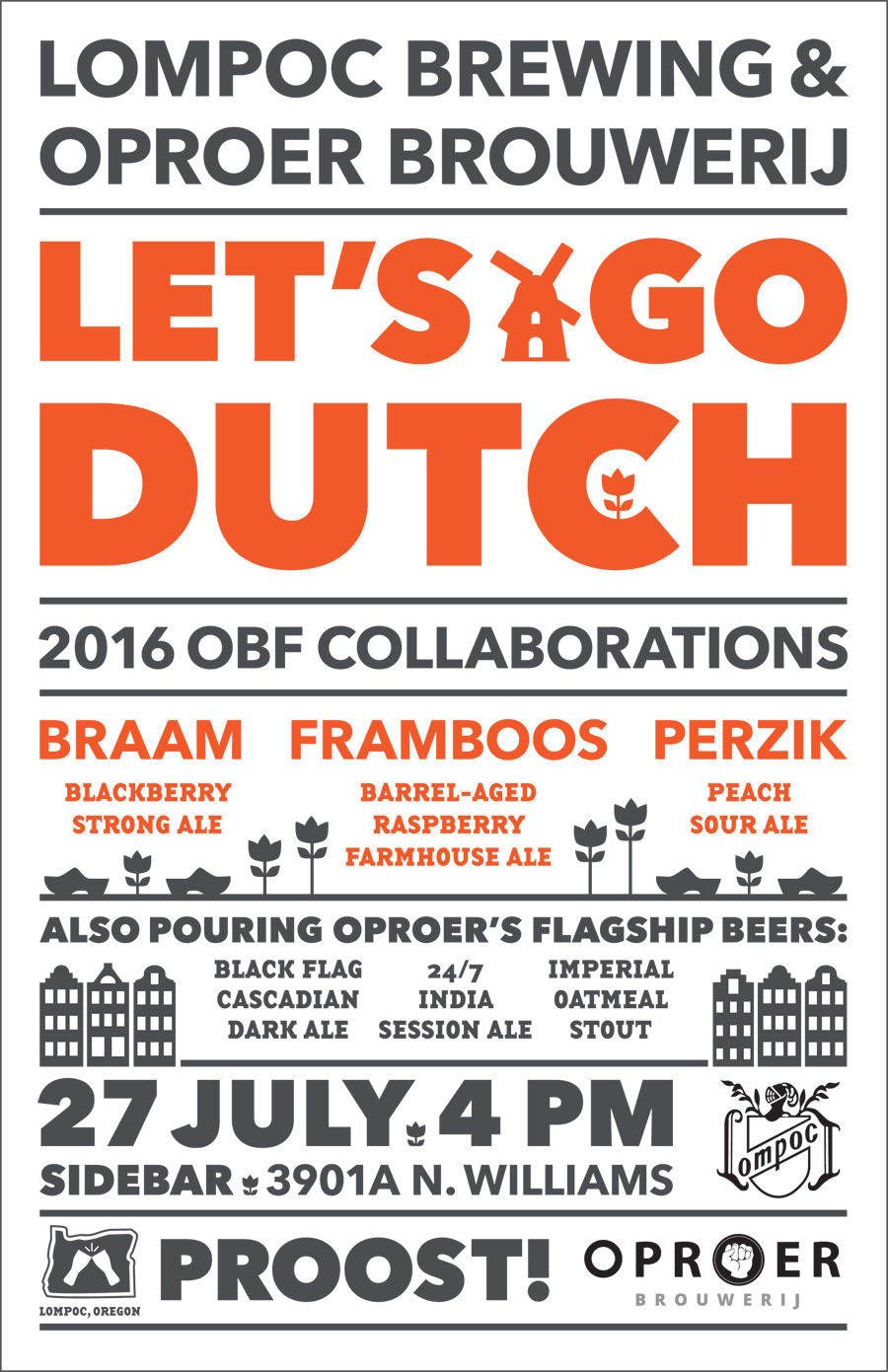 Lompoc and Oproer Brewing Oregon Brewers Fest Collaboration Beer Event Poster Design
