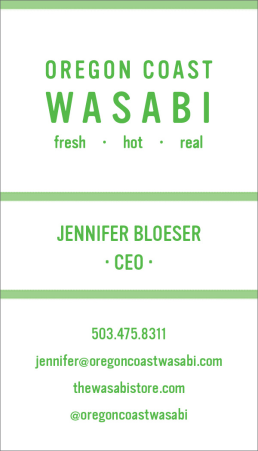 Oregon Coast Wasabi Proposed Business Card Design